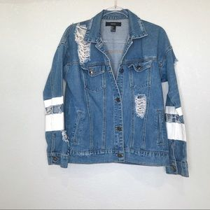 F21 destructed denim varsity style jean jacket